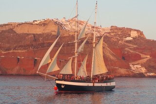 santorini excursion aethrio hotel sail in sunset